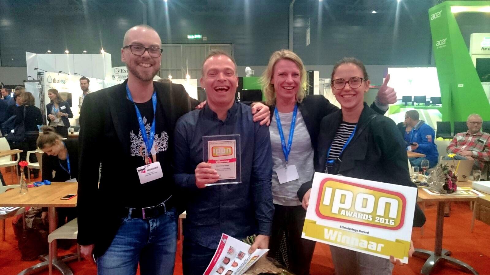 Gewonnen! v.l.n.r: Jeroen de Boer, Per-Ivar Kloen, Karien Vermeulen, Mariska Hamelink
